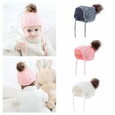 Gifts Ball Crochet Fur Pompom Baby Earbud Hat Warm Knit Infant Winter Cap