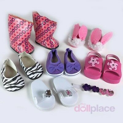 """18 inch Doll Shoes LOT Fit American Girl 6 pc Set New 18"""" Boots Sandals Slippers"""