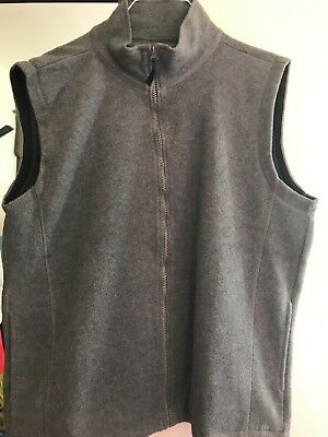 Womens Plus Size Fleece Vest Zipper Front Grey New Size 3x