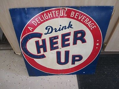 Vintage 1940's Cheer Up Soda Pop Gas Station Embossed Metal Sign RARE SIGN 19X19