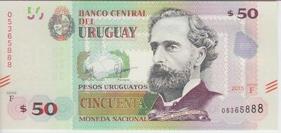 Uruguay Banknote P New 50 Pesos 2015 (2017), Fancy # 5888,  Unc