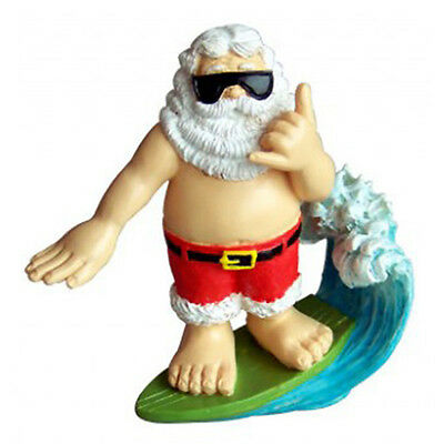 Hawaiian Christmas Poly Resin Ornaments Santa Surfing Hang Loose Shaka Hawaii NB
