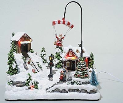 Christmas Decoration Animated Moving Santa on Parachute LED Lights Snow Village