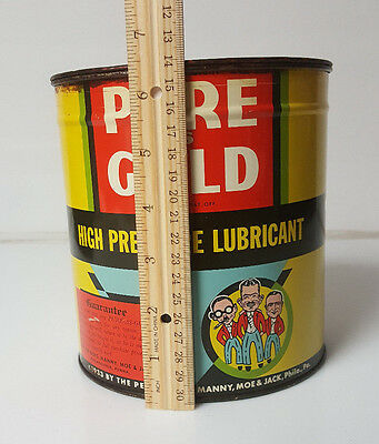 Vintage Oil Grease Can Pep Boys Manny Moe Jack pure as gold 1933 Large 4-5lb ?