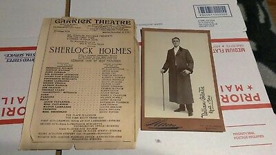 "William Gillette autographed photo from the play ""Sherlock Holmes"""