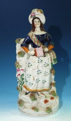 19th Century Antique Hanpainted Staffordshire Pottery Figure.