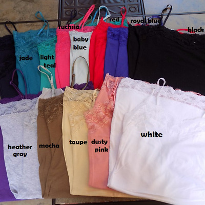 Lot of 6 Basic Cotton/Spandex Long Lace Spaghetti Strap Camisole Tank Top 3X