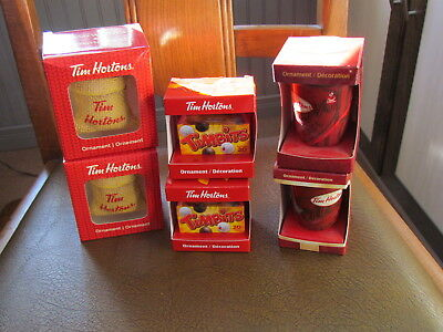 Various Tim Hortons Christmas Ornaments-Timbits, coffee sack, to go cup