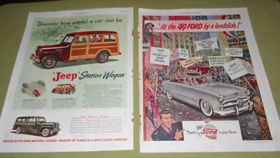Vintage Car Magazine Ad Pages for Ford Jeep Packard Nash 1930s 1940s