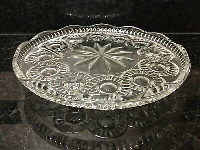 Vintage Pressed Glass Cake or Flan Comport Tazza Plate Table Server