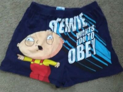 Family Guy, Obey Stewie Boxers Shorts, Sz 32/34 (M) 100% cotton.