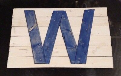 Chicago Cubs W Win Hand Crafted Wooden Sign