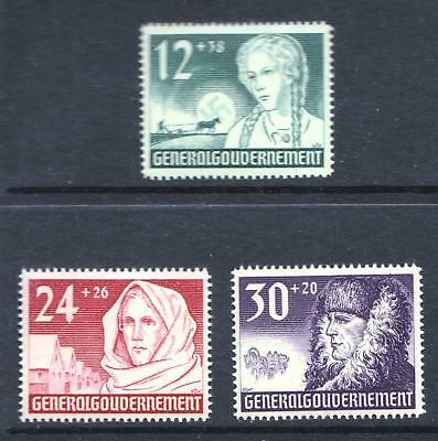Poland 1940 General Government First Anniversary - Three MNH values - (207)
