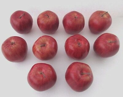 Lot of 10 FAUX Delicious Red Apples Realistic Decorative Fruit Bowl Props