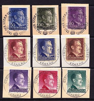 Poland 1942 -1943 Hitler Definitives - Used on paper - Special Cancels - (25)