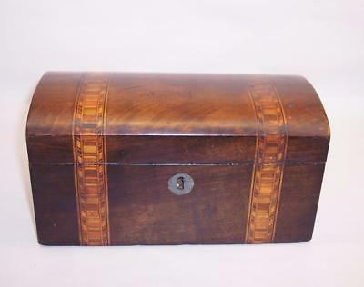 Antique/Vintage DOMED Wooden TEA CHEST/Caddy Inlaid Wood Strips