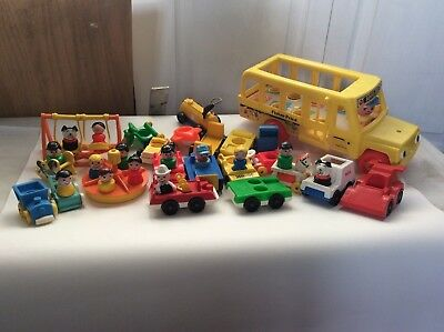 Vintage Fisher Price Little People cars School Bus LOT Playground swing taxi