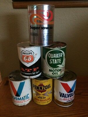 Lot Of 6 Vintage Motor Oil Cans, Phillips 66,Conoco,Pennzoil,Quaker State