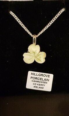 irish porcelain SHAMROCK PENDANT ON STERLING SILVER 18IN CHAIN