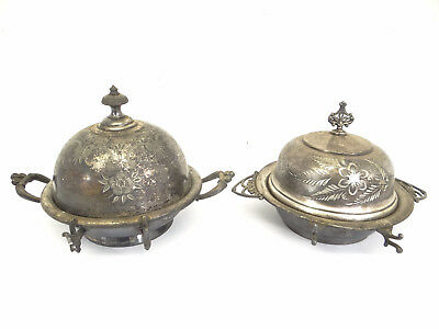 Antique Old Silverplate Van Bergh Meriden B 4947 Condiment Butter Serving Dish
