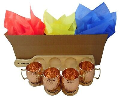 Pure Copper Hammered Moscow Mule Mug Gift Set with 4 Mugs + 4 Coasters + Tray