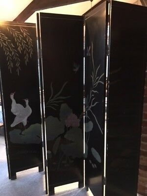 antique decorative dressing 6 panel screen - black with painted birds, flowers