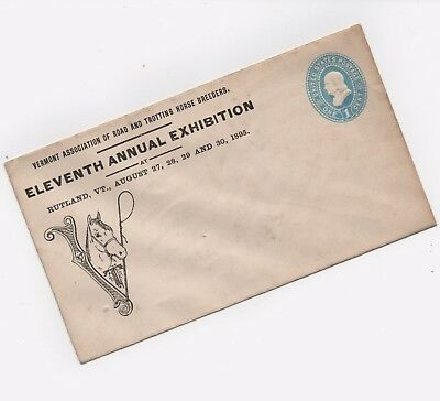 VT Ass'n Road and Trotting Horse Breeders 1895 Adv. Envelope, Rutland, Vermont