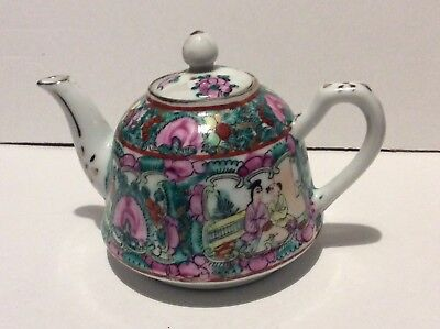 Chinese Famille Rose verte bell shape Teapot SEE PICS character marked Date?
