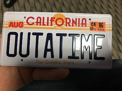 """Back To The Future """"outatime"""" Mini Stamped Metal License Plate"""