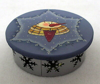 Hand painted wooden SNOWMAN LID TIN trinket box cut out SNOWFLAKES trinkets