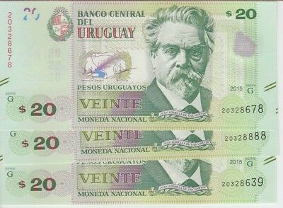 Uruguay Banknote P New 20 Pesos 2015 Serie G Lot Of 3, Unc