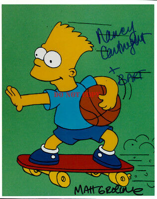 The Simpsons Matt Groening Nancy Cartwright signed 8x10 Autographed Photo RP