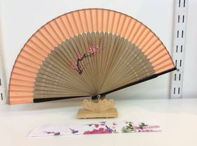 Japanese Silk Hand Fan-Cherry Blossom and Timber frame w Silk Fan Holder- F022