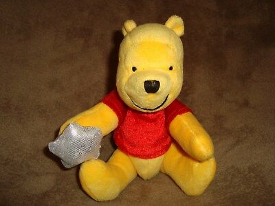 """Winnie The Pooh Jointed with buttons holding a star Disney Store Plush 8"""""""