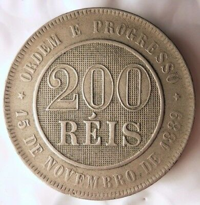 1896 BRAZIL 200 REIS - High Quality Rare Coin - Lot #D11