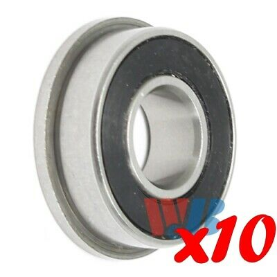 Set of 10 8mm x 19mm x 6mm Miniature Ball Flanged Bearing F698-2RS Rubber Seal