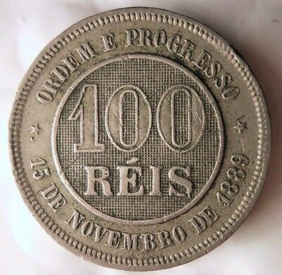 1889 BRAZIL 100 REIS - High Quality Rare Coin - Lot #D11