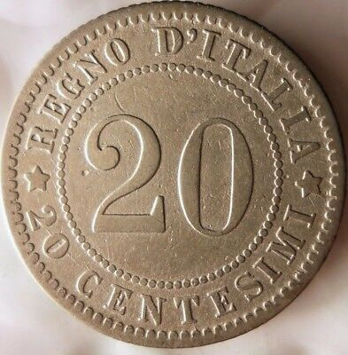 1894 ITALY 20 CENTESIMI - Uncommon Type Vintage Coin - Lot #D11