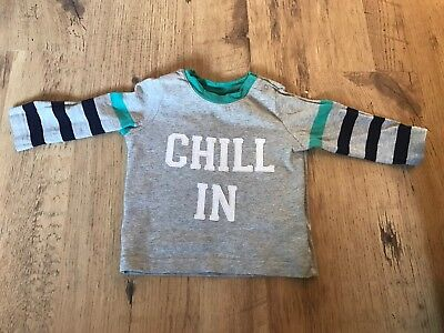 Gap Baby Boy Grey Long Sleeve Tshirt Top 'chill In' Size 12-18 Months