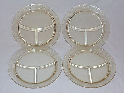 Set Of 4 Vintage 1930's Yellow Depression Glass Divided Grill Plates