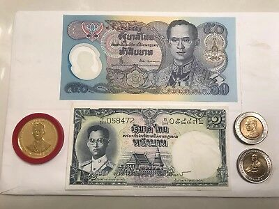Thailand Coins Paper Bills Money Currency Baht Gold Thai
