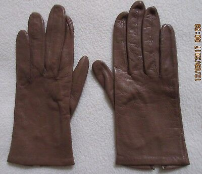 vintage ladies light brown leather gloves lined 8 inch size 6