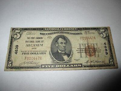 $5 1929 Arcanum Ohio OH National Currency Bank Note Bill! Ch. #4839 Fine!