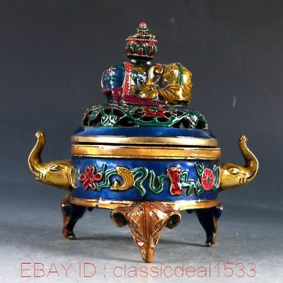 Chinese Cloisonne Handwork Carved Elephant Incense Burner PA0333