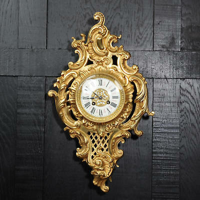 Antique French Gilt Bronze Rococo Cartel Wall Clock - Japy Freres C1880