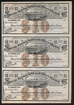 3 Stks-Specie Paying Gold & Silver Mining Co. 1880s Mines Pinal County AZ.