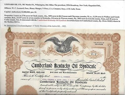 Stk-Cumberland Kentucky Oil sydicate 1919 Info Image #1 for information