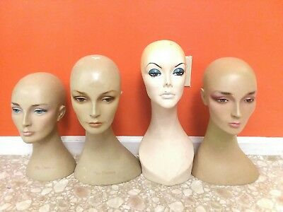 4 Vintage Female Mannequin Head Bust Wig Hat Jewelry Display