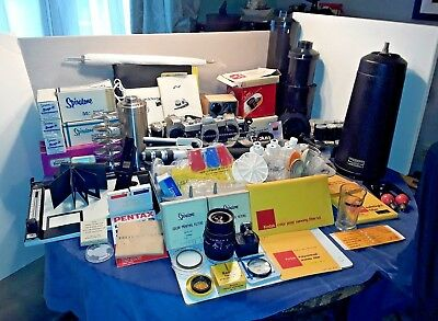 SLR CAMERAS Lenses Filters Photography DARKROOM MEGA LOT w/ Enlarger Parts READ!