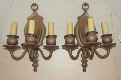 Antique Pair of Vintage B&H Bradley & Hubbard Brass Three Light Wall Sconces